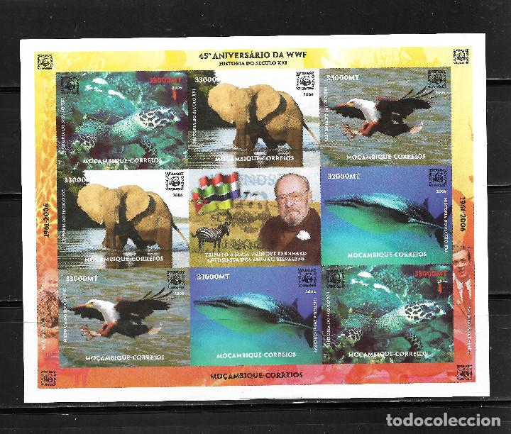 MOZAMBIQUE 2006, HOJA BLOQUE SIN DENTAR 45 ANIVERSARIO FAUNA WWF. MNH. (Sellos - Extranjero - África - Otros paises)
