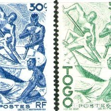 Sellos: TOGO 2 SELLOS NUEVOS NATIVOS EXTRAYENDO ACEITE DE PALMA 1947. Lote 288295043