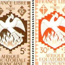 Sellos: AFRICA ECUATORIAL FRANCESA 2 SELLOS NUEVOS AVE FENIX 1941. Lote 288295518