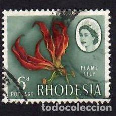 Sellos: RHODESIA (1966). LIRIO. YVERT Nº 134. USADO.. Lote 288343588