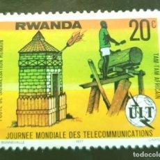 Sellos: MICHEL RW 873 - RUANDA - WORLD TELECOMMUNICATIONS DAY - 1977. Lote 288609823