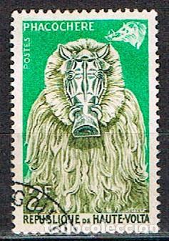 ALTO VOLTA IVERT Nº 75, MASCARA DE ANIMAL: JABALI, USADO (Sellos - Extranjero - África - Otros paises)