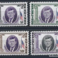 Sellos: GUINÉE N°187/89 + PA 40* (MH) 1964 - JOHN F. KENNEDY. Lote 289774828