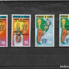 Sellos: DJIBOUTI 1978, SERIE DOS VALORES + SERIE SOBRECARGADA ARGENTINA 78. MNH.. Lote 294813088