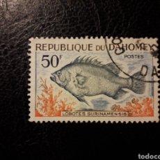 Sellos: DAHOMEY YVERT 228 SELLO SUELTO USADO 1965 FAUNA. PECES PEDIDO MÍNIMO 3€. Lote 296752903