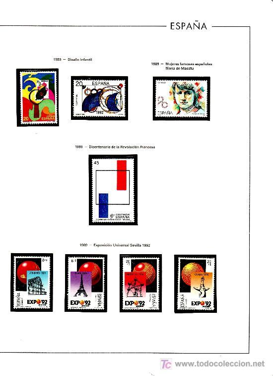 OFERTA HOJAS EDIFIL 1989 AL 94 CON ESTUCHES TRANSPARENTE, SIN SELLOS, CON TAPA PLASTICO, PVP 200 (Sellos - Material Filatélico - Álbumes de Sellos)