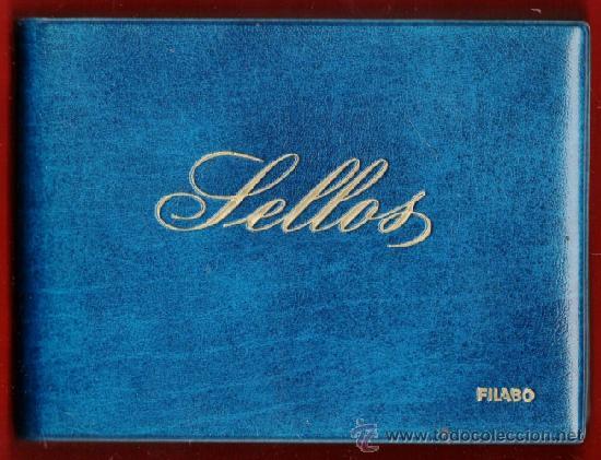 MINI ALBUM PARA FICHAS DE SELLOS - FILABO - SKAI AZUL - 24 HOJAS CRISTAL - USADO - VER FOTO (Sellos - Material Filatélico - Álbumes de Sellos)