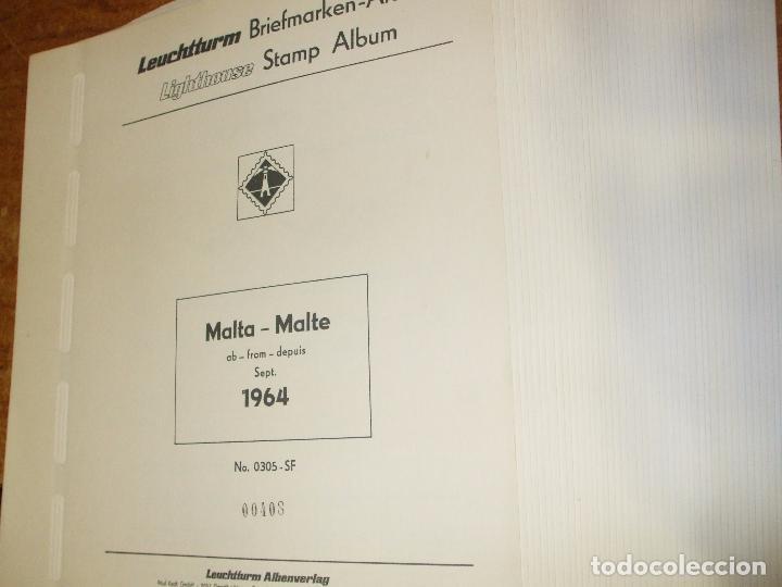 OFERTA LEUCHTTURM-FARO MALTA 1964/79 USADAS, 42 HOJAS CON ESTUCHES TRANSPARENTES, SIN SELLOS (Sellos - Material Filatélico - Álbumes de Sellos)