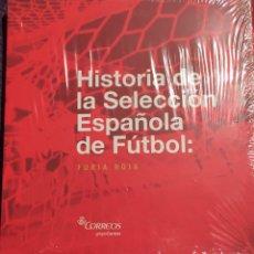 Sellos: LIBRO CON SELLOS HISTORIA DE LA SELECCIÓN ESPAÑOLA DE FUTBOL. Lote 153805178