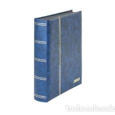 Sellos: CLASIFICADOR LINDNER. 60 PÁGINAS. HOJAS NEGRAS. COLOR AZUL. Lote 182579226