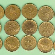 Sellos: ITALIA. 15 MONEDAS DE 20 LIRAS, 15 FECHAS DIFERENTES. Lote 224602536