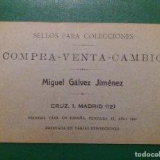 Sellos: LIBRETA-ÁLBUM DE LA FILATELIA MIGUEL GÁLVEZ. AÑOS 20 APROX.. Lote 233012370