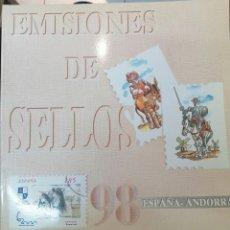 Sellos: LIBRO OFICIAL DE CORREOS 1998 ESPAÑA Y ANDORRA - COMPLETO CON SELLOS Y FILOESTUCHES. Lote 255996060