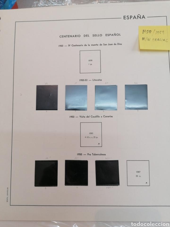 ESPAÑA HOJAS DE ÁLBUM EDIFIL SUPLEMENTOS PARCIALMENTE MONTADO EN NEGRO AÑOS 1950 AL 1959 (Sellos - Material Filatélico - Álbumes de Sellos)