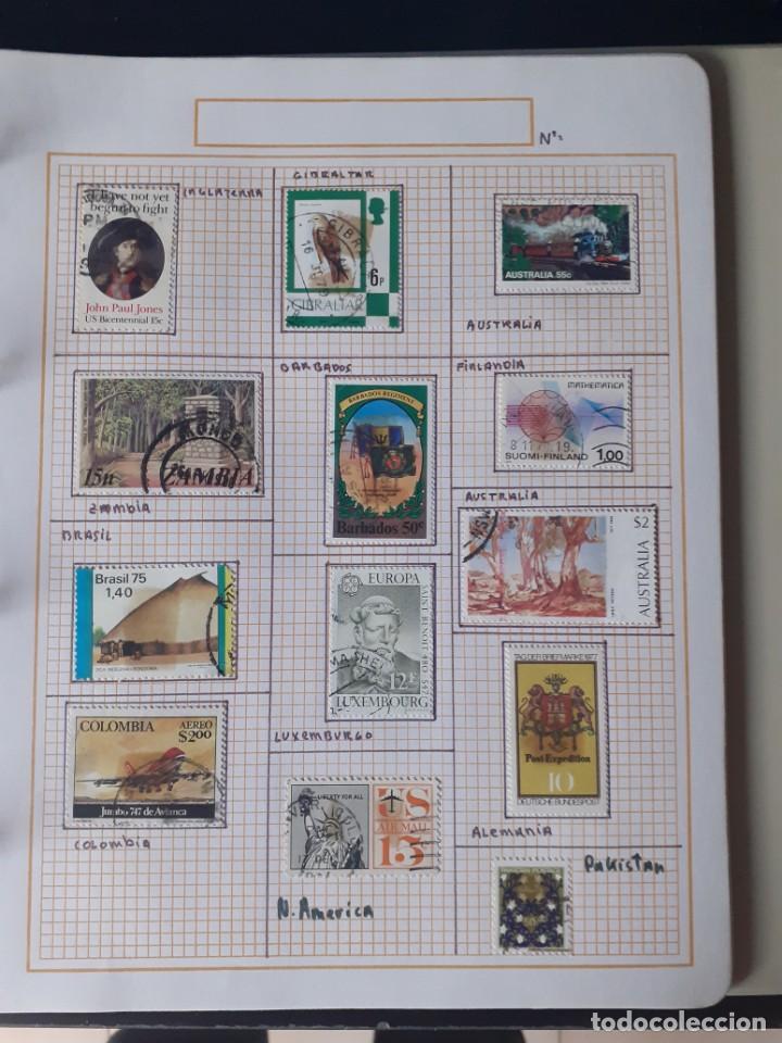 Sellos: album antiguo sellos anillas con 17 hojas vacias, los sellos se están despegando. - Foto 19 - 255603940