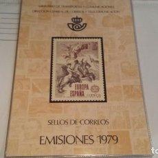 Sellos: LIBRO CARPETA OFICIAL DE CORREOS AÑO 1979 CON LA EMISIÓN DE SELLOS DE ESPAÑA, MUY BONITA.. Lote 294957383