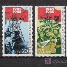 Sellos: 1985 - REPUBLICA DEMOCRATICA ALEMANA (RDA) - 40º ANIV. LIBERACIÓN FASCISMO - COMPLETA ***. Lote 14312102