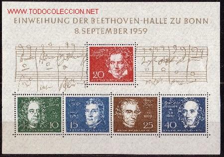 ALEMANIA HB 1*** - AÑO 1959 - INAGURACION DEL BEETHOWEN HALLE - MUSICOS (Sellos - Extranjero - Europa - Alemania)