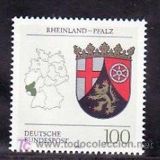 Sellos: ALEMANIA FEDERAL 1527 SIN CHARNELA, MAPA Y ESCUDO DE RHEINLAND-PFALZ,. Lote 207374048