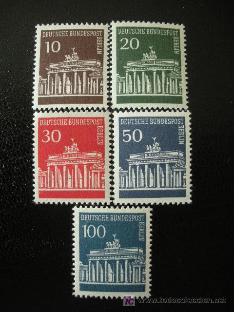 BERLIN 1966/67 IVERT 257/61 *** PUERTA DE BRANDENBRGO - MONUMENTOS (Sellos - Extranjero - Europa - Alemania)