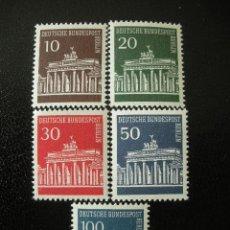 Sellos: BERLIN 1966/67 IVERT 257/61 *** PUERTA DE BRANDENBRGO - MONUMENTOS. Lote 42393130