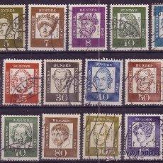 Sellos: ALEMANIA 220/34 - AÑO 1961 - ALEMANES CÉLEBRES - HISTORIA - MÚSICA - FILOSOFÍA - RELIGIÓN - PINTURA. Lote 15086838