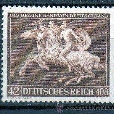 Sellos: ALEMANIA III REICH AÑO 1941 YV 704* CARRERAS DE CABALLOS - 8º RUBAN MARRÓN - FAUNA. Lote 26713079