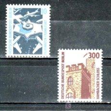 Sellos: ALEMANIA-BERLIN 759/60 SIN CHARNELA, CURIOSIDADES, AVION, AEROPUERTO DE FRANKFURT, CASTILLO HAMBACH. Lote 17802091