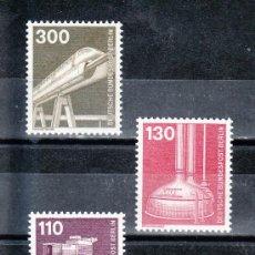Sellos: ALEMANIA-BERLIN 629/31 SIN CHARNELA, CAMARA TV COLOR, CALDERA PARA ELABORAR CERVEZA, MONORAIL AEREO. Lote 17849527