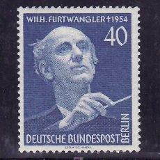Sellos: ALEMANIA-BERLIN 113 SIN CHARNELA, FESTIVAL DE MUSICA Y ANIVERSARIO MUERTE DE WILHELM FURTWANGLER . Lote 22555784