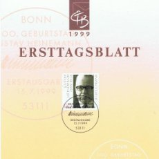 Sellos: GUSTAV HEINEMANN 1999 HOJITA PRIMER DIA. Lote 19546048