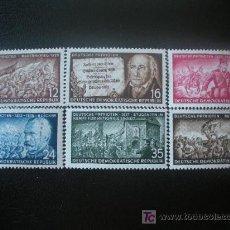 Sellos: ALEMANIA ORIENTAL DDR 1953 IVERT 140/5 *** PATRIOTAS ALEMANES. Lote 20749390