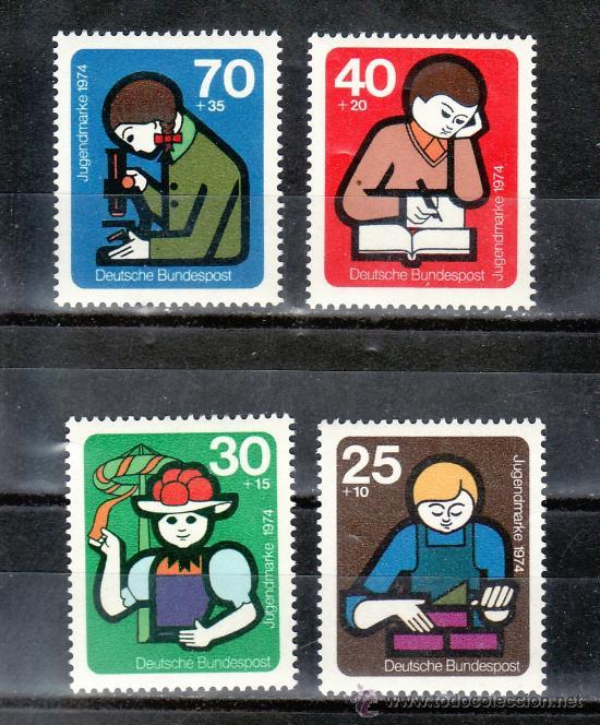 ALEMANIA-FEDERAL 649/52 SIN CHARNELA, CONSTRUCCION, FOLKLORE, ESTUDIO, INVESTIGACION, (Sellos - Extranjero - Europa - Alemania)