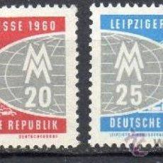 Sellos: ALEMANIA ORIENTAL DDR AÑO 1960 YV 466/67*** FERIA DE PRIMAVERA DE LEIPZIG - ARQUITECTURA. Lote 22252033