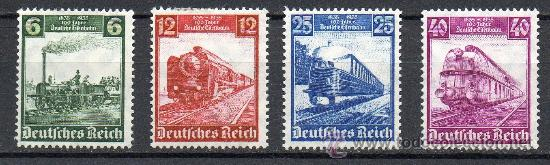 ALEMANIA III REICH AÑO 1935 YV 539/42* CENTº DE LOS FERROCARRILES ALEMANES - TRANSPORTES (Sellos - Extranjero - Europa - Alemania)
