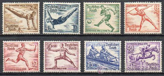 ALEMANIA III REICH AÑO 1936 YV 565/72* JUEGOS OLÍMPICOS BERLÍN - DEPORTES - ATLETISMO - CABALLOS (Sellos - Extranjero - Europa - Alemania)