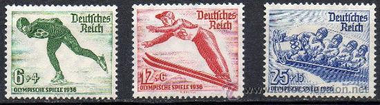 ALEMANIA III REICH AÑO 1935 YV 559/61* JUEGOS OLÍMPICOS DE INVIERNO - DEPORTES - ESQUÍ - PATINAJE (Sellos - Extranjero - Europa - Alemania)
