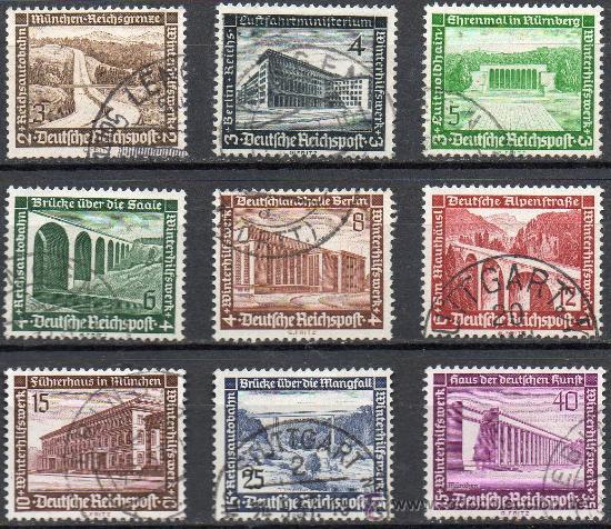 ALEMANIA III REICH AÑO 1936 YV 582/90ºº AYUDA DE INVIERNO - ARQUITECTURA - PUENTES (Sellos - Extranjero - Europa - Alemania)