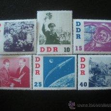 Sellos: ALEMANIA ORIENTAL DDR 1961 IVERT 576/81 *** VISITA DEL ASTRONAUTA TITOV - CONQUISTA DEL ESPACIO. Lote 87206260