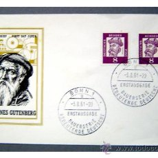 Sellos: SOBRE PRIMER DIA JOHANNES GUTENBERG - ALEMANIA FEDERAL AÑO 1961. Lote 27594443