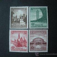 Sellos: ALEMANIA III REICH 1938 IVERT 608/11 *** 16º FIESTA DEPORTIVA DE BRESLAU - MONUMENTOS. Lote 27115157