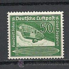 Sellos: ALEMANIA 1938, IMPERIO AEREO YVERT Nº 58*, CENTENARIO DEL NACIMIENTO DEL CONDE ZEPPELIN.FIJASELLOS.. Lote 27763558