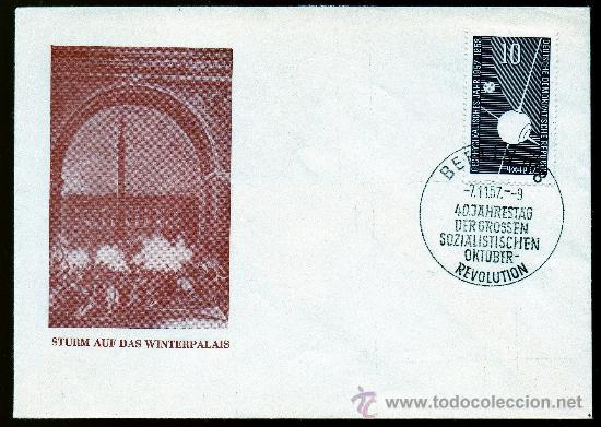 ALEMANIA ORIENTAL DDR AÑO 1957 YV 326 SPD CON ERROR REVOLUCIÓN DE OCTUBRE SOBRE SELLO AÑO GEOFÍSICO (Sellos - Extranjero - Europa - Alemania)