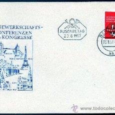 Sellos: ALEMANIA ORIENTAL DDR AÑO 1957 YV 311 SPD - IV CONGRESO MUNDIAL SINDICATOS OBREROS - ARQUITECTURA. Lote 28853145