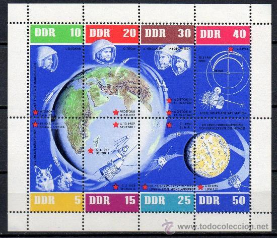 ALEMANIA ORIENTAL DDR AÑO 1962 YV HB 12*** 5º ANVº VUELOS ESPACIALES SOVIÉTICOS - ASTRONÁUTICA (Sellos - Extranjero - Europa - Alemania)