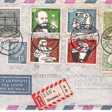Sellos: 1955.- CARTA CERTIFICADA CON 4 SERIES DE BREMEN A RIO PIEDRAS DE PUERTO RICO . Lote 29941237