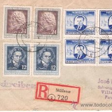 Sellos: 1952.- CERTIFICADO CON 8 SELLOS DE MÜLLROSE A VILLARRICA DE PARAGUAY. Lote 29941627