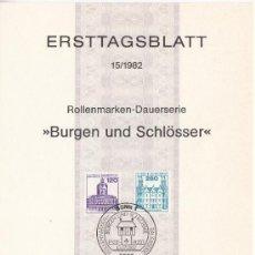 Sellos: ALEMANIA-FEDERAL 974/5 ETB PRIMER DIA, CASTILLOS, CHARLOTTENBURG BERLIN, AHRENSBURG. Lote 32750728