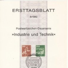 Sellos: ALEMANIA-BERLIN 635/6 ETB PRIMER DIA, AVION, INDUSTRIA Y TECNOLOGIA, EXCAVADORA, AEROPUERTO. Lote 32776893