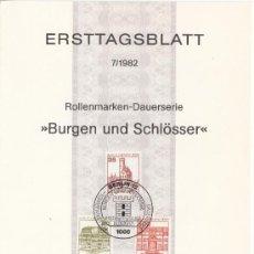Sellos: ALEMANIA-BERLIN 632/4 ETB PRIMER DIA, CASTILLO DE LIECHTENSTEIN, WILHELMSTHAL, HERRENHAUSEN-HANNOVER. Lote 32776929